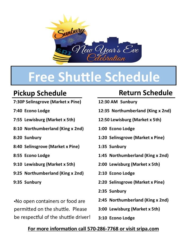 NYE Shuttle Schedule 2 pic