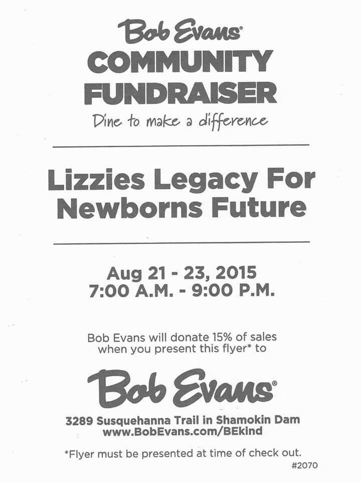 Bob Evans Fundraiser for The Family of Elizabeth Spaseff