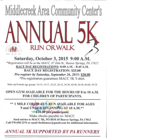 Middlecreek Area Community Center 5K